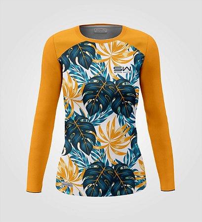 Camisa Térmica Feminina | Manga Longa | Floral Laranja | Dia das Mães