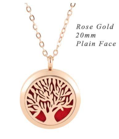 Colar Aromático de Aço - Árvore da Vida - Rose Gold - 20mm (Tamanho P)