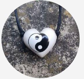Aromatizador Pessoal - Coração Branco - Símbolo Yin Yang