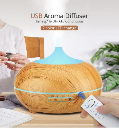 Difusor/Umidificador Ultrassônico Ligth Wood - Kbaybo - 550ml