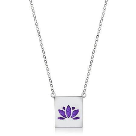 Colar Difusor Pessoal Flor de Lotus Rodio