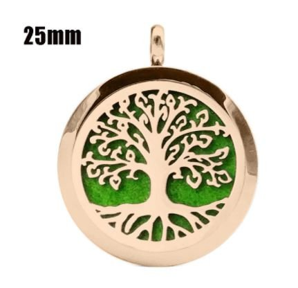 Colar Aromático de Aço - Árvore da Vida - Rosé Gold- 25mm (Tamanho M)