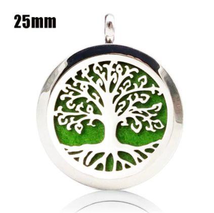 Colar Aromático de Aço - Árvore da Vida Raiz - Prata - 25mm (Tamanho M)