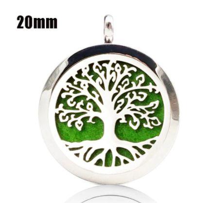 Colar Aromático de Aço - Árvore da Vida Raiz - Prata - 20mm (Tamanho P)
