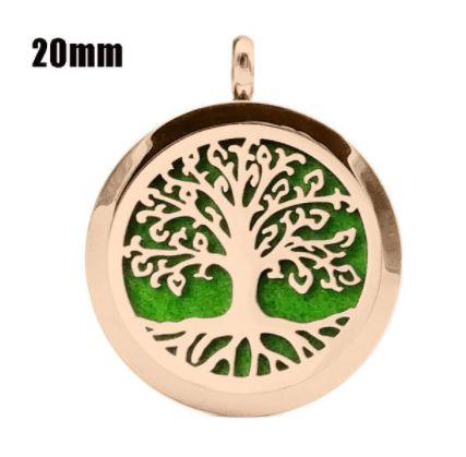 Colar Aromático de Aço - Árvore da Vida - Rosé Gold - 20mm (Tamanho P)