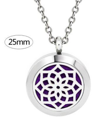Colar Aromático de Aço - Mandala - Prata - 25mm (Tamanho M)