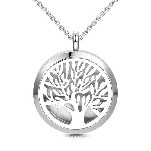 Colar Aromático de Aço - Árvore da Vida - Prata - 25mm (Tamanho M)