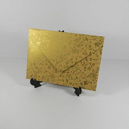 Envelope Dourado com Adamascado dourado Mod.EN3100 - 15x21,5cm