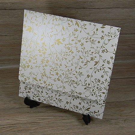 Envelope para convite pérola com floral dourado 03 - Mod. EN4000 - tam:19,5x19,5cm