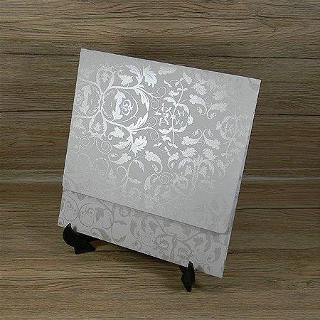 Envelope para convite branco com floral pérola - Mod. EN4000 - tam:19,5x19,5cm