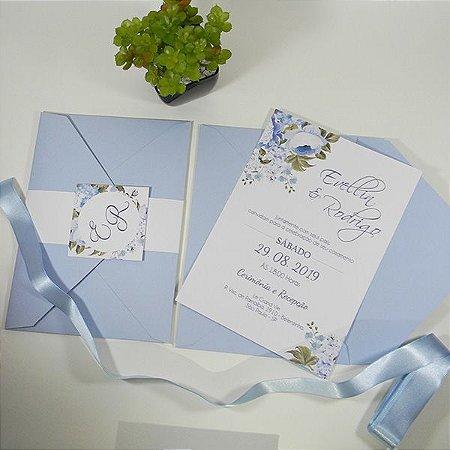 Convite tradicional azul serenity - mod.santorini / Minimo - 50 unids