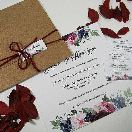 Convite rústico casamento mod. Cartagena/ minimo 50 unids