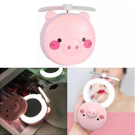 PIG FAN - Espelho + Led + Ventilador Portátil
