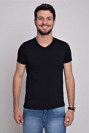 Camiseta V Manga Curta Viscose