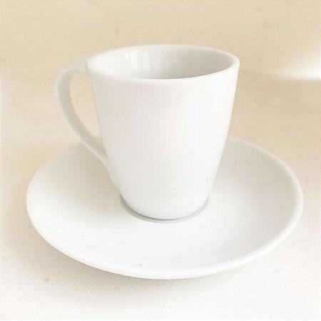 Xícara com Pires de Porcelana 75 ml Cônica para Sublimação