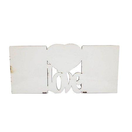 Porta Retrato MDF Love para 2 Fotos Branco