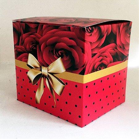 Caixa de Caneca com Laço Dourado Vermelha