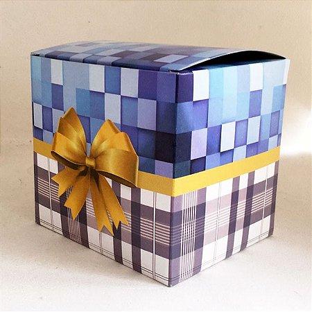 Caixa de Caneca Azul Xadrez