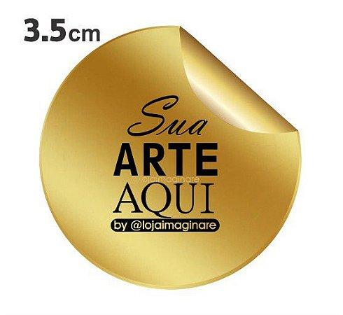 Etiqueta Adesiva 3.5x3.5cm Vinil Dourado Personalizado – Mod.: ADED35