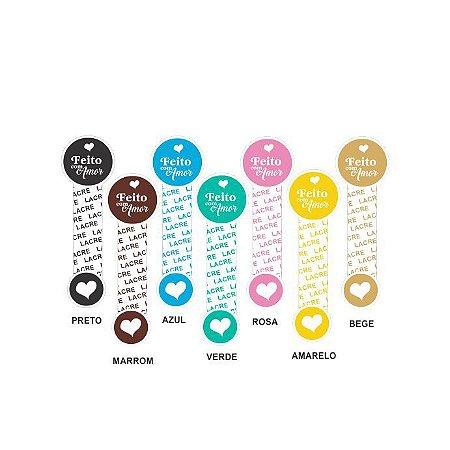 Lacres Adesivos Feito com Amor 8×2.5cm c/ 20 Und – Cores – Mod.: LAC01