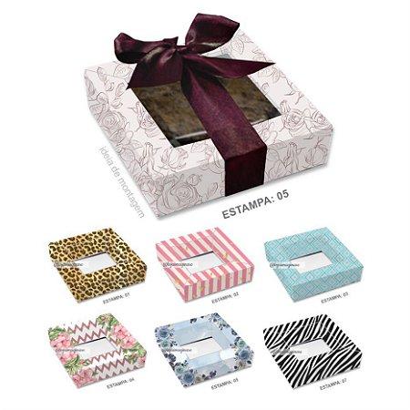 Caixa para 1 Brownie Dia das Mães c/ 20 und - Estampas – Mod.: CBM100