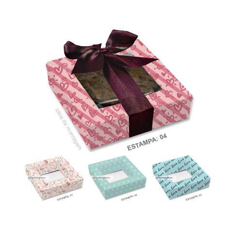 Caixa para 1 Brownie Namorados c/ 20 und - Estampas – Mod.: CBN100