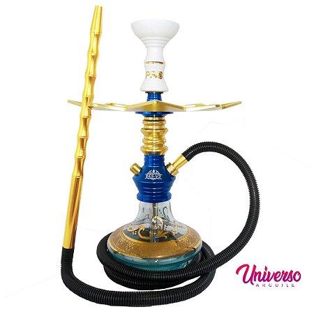 Kit Narguile Gods Of Hookah Bes V2 Azul e Dourado Boho Premium