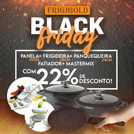 Black Friday Frigigold - Conjunto 5 peças FRIGIGOLD linha Premium Fosco – Panela 20cm + Wok 28cm + Panquequeira + Mastermix + Superfatiador