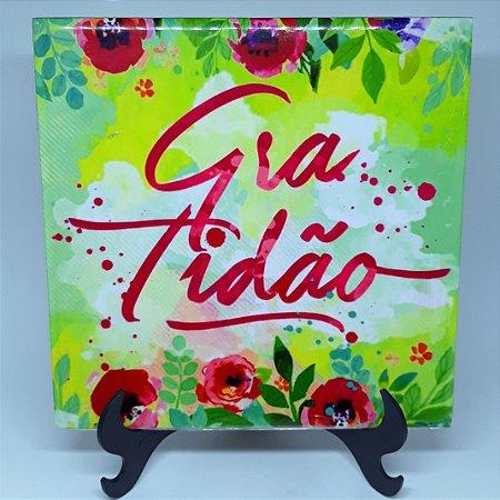 """Azulejo Decorativo """"Gratidão"""""""