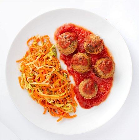 Spaguetti de Legumes com Almôndegas de Grão de Bico ao molho sugo (Vegano) - 400g