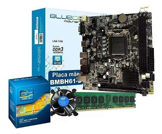 Processador Core i5 3470 + Placa mãe Bluecase + 8GB RAM 1600Mhz +  Cooler