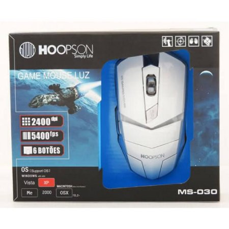 Mouse Gamer Hoopson MS-030, LED, 6 Botões, 2400DPI, Branco - MS-030 B
