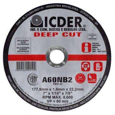 Disco Corte Fino Aço Icder Steel 7 X 1/16 deep cut