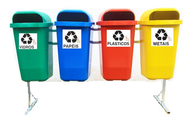 Lixeira para reciclagem 4 cores