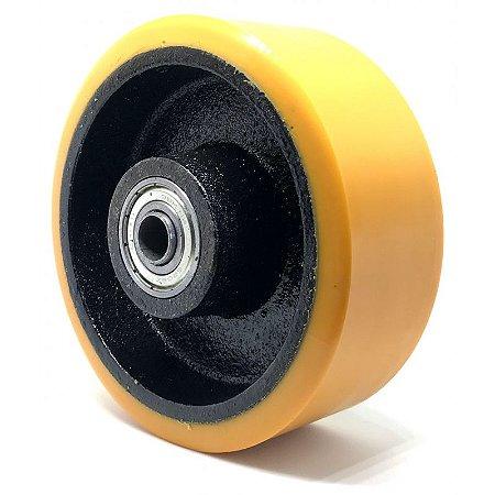 Roda de Ferro Fundido 10'' Polegadas 250x50 Revestimento Poliuretano. Capacidade estática 1300kg / Capacidade deslocamento 410kg