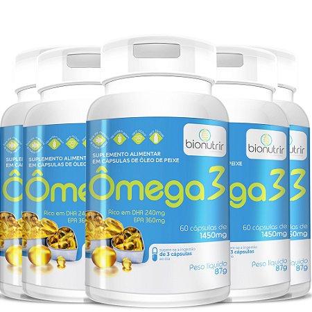 Kit 5 Ômega 3 (1000mg) 300 Cápsulas Bionutrir - Original