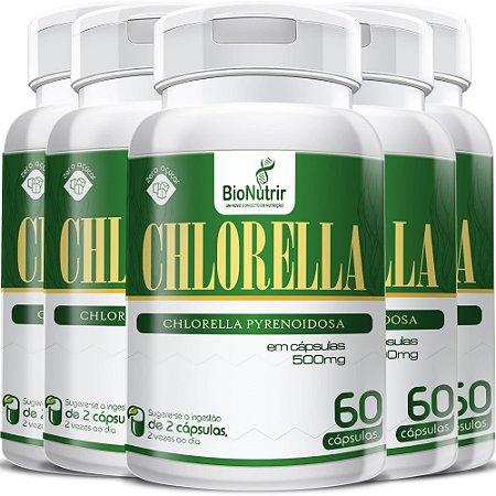 Kit 5 Chlorela (500mg) - 300 Cápsulas Bionutrir