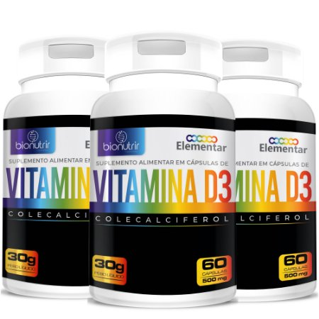 Kit 3 Vitamina D3 (2000 Ui) 180 Cápsulas - Bionutrir