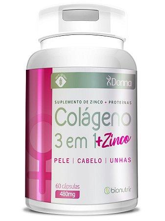 Colágeno 3 em1 + Zinco 60 Cápsulas - BioNutrir