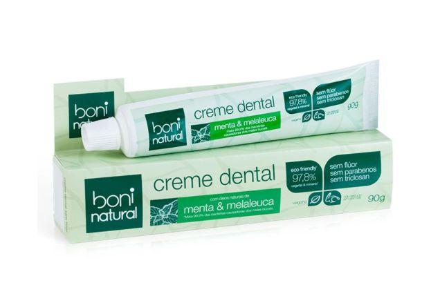 Creme Dental Boni Natural Menta E Melaleuca Sem Flúor - 90g