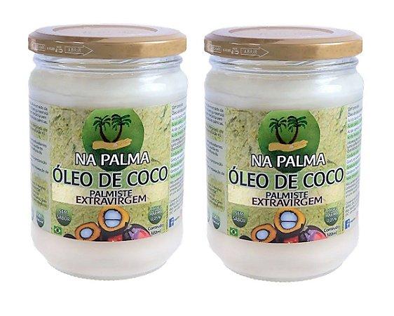 Óleo De Coco Na Palma Extravirgem 2x500ml 100% Natural e Sem Sabor