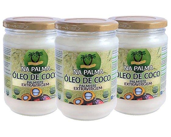 Óleo De Coco Extra virgem (100% Orgânico por Moagem a Frio) 3 Potes 500ml cada - Totalmente sem Sabor e Cheiro.