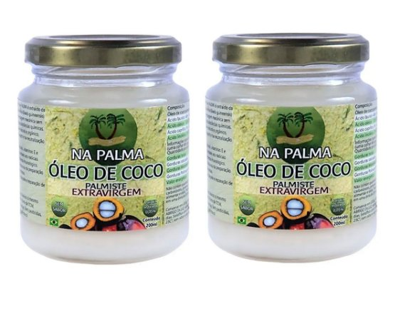 Óleo De Coco Extra virgem (100% Orgânico por Moagem a Frio) 2 Potes 200ml - Totalmente sem Sabor e Cheiro.
