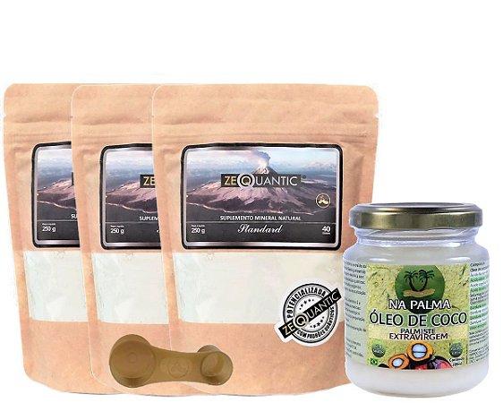 Kit = 3 Zeólita Clinoptilolita Standard 250g cada + 1 Oléo de coco Extra virgem sem cheiro e sem sabor 200ml  {1 Dosador dentro da embalagem de cada Zeólita}