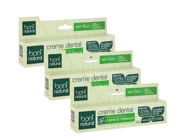 Kit 3 Creme Dental Boni Natural sem Flúor Vegano