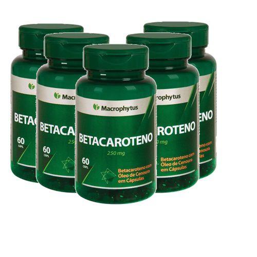 Kit Betacaroteno Softgel 250mg 60cps Macrophytus 5 Unidades