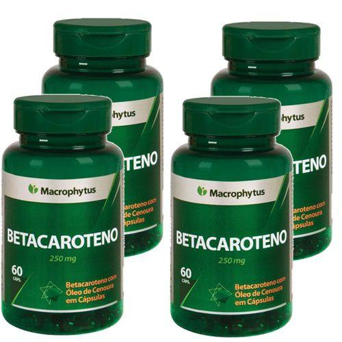 Kit Betacaroteno Softgel 250mg 60cps Macrophytus 4 Unidades