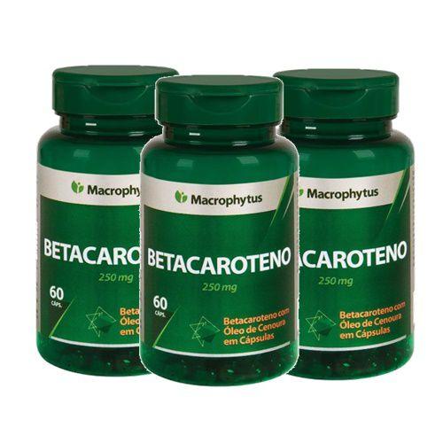Kit Betacaroteno Softgel 250mg 60cps Macrophytus 3 Unidades