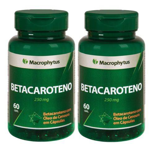 Kit Betacaroteno Softgel 250mg 60cps Macrophytus 2 Unidades