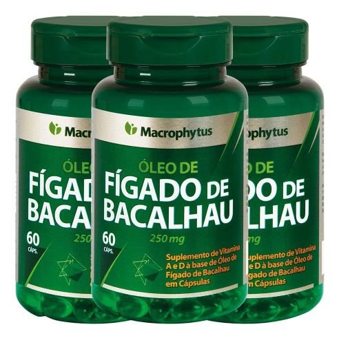 3 Fígado De Bacalhau 250mg 180 Capsulas - Macrophytus